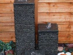SET OF 3 DARK GREY GRANITE COLUMNS