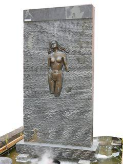 BLACK MARBLE LADY WATER FEATURE
