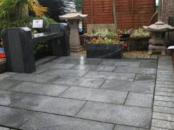 Natural Granite Stone Paving in Dark Grey.