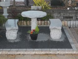 NATURAL SILVER GREY GRANITE TABLE AND 2 BENCHES