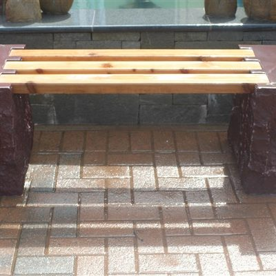 stone and wooden bench
