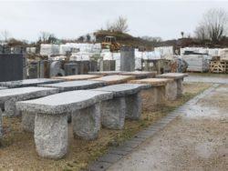 s shape granite bench
