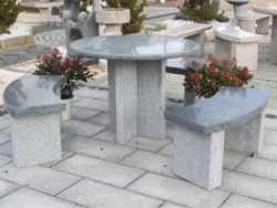 DARK GREY GRANITE ROUND TABLE WITH 3 BENCHES