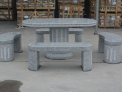 OVAL TABLE WITH 4 BENCHES SILVER GREY GRANITE